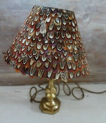 vintage brass lamp with pheasant feather shade