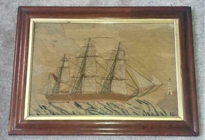 Rare Antique British Sailors Woolwork Picture of Masted Ship with Provenance