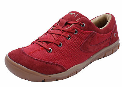 Ladies Red Leather Cotswold Trainers Sports Running Gym Casual Shoes Sizes 4-8