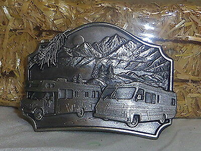 RV detailed pewter camper camping belt buckle Made in America USA