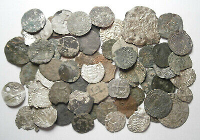 Lot of 60 Medieval Silver and Bronze coins, between 1300 - 1600