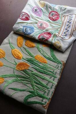 Two (2) vintage Irish linen cushion cover with hand embroidery - tulips.