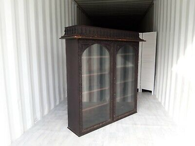 Antique Victorian Oak Glazed Bookcase Vintage