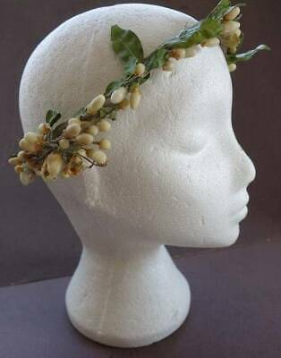 Antique 1920's wax and paper floral wedding headdress. - excellent condition