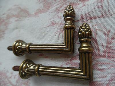 Pair Of Petite Vintage French Solid Brass Curtain Tie Back Hooks