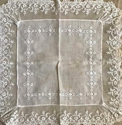 Beautiful Antique Linen Handkerchief, Cutwork Embroidery & Lace Edging