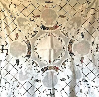Beautiful Antique/vintage Linen Embroidered Cutwork Tablecloth, Roses