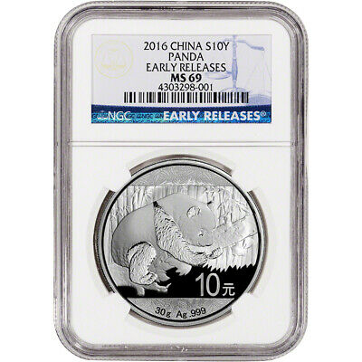 2016 China Silver Panda (30 g) 10 Yuan - NGC MS69 - Early Releases