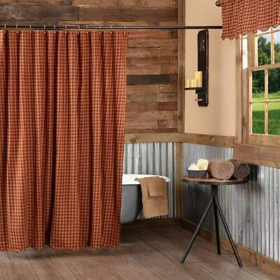 VHC Brands Burgundy Gingham Check Scalloped Farmhouse Primitive Shower Curtain