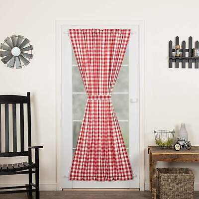 VHC Brands Annie Buffalo Red Check Farmhouse Prim Country Curtains Door Panel
