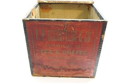 """Antique F P Garrettson & Co Tea And Coffee Wooden Shipping Crate Box 11"""" X 11"""""""