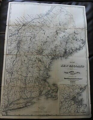 """1873 Detailed 23x16"""" Map of New England with portions of New York and Canada"""