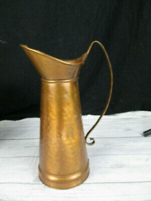 "Gregorian Solid Hammered Copper  Pitcher 11"" H USA Vintage"