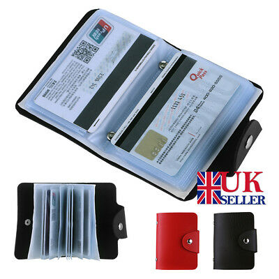 24 Cards Credit Card Holder Wallet Pu Leather ID Business Pocket Purse Box UK