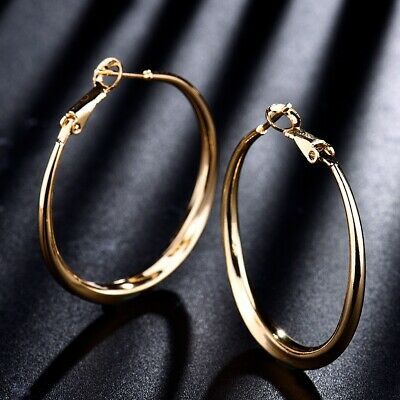 Sparkling 18k Yellow Gold Filled Wedding Chic Charming Dangle Big Hoop Earrings