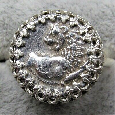 Authentic Ancient Greek Silver Coin Sterling Silver Size 7 Ring Setting Leo #241