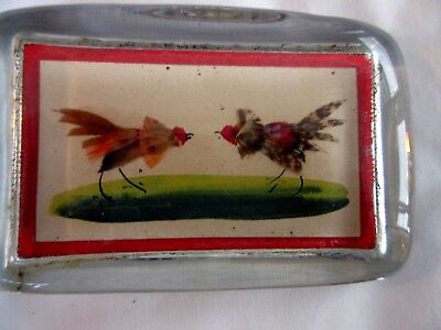 Rectangular Antique Paperweight Pictures a Cock Fight
