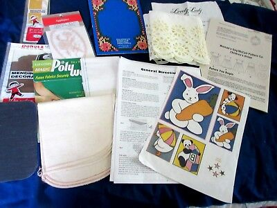 Vintage Lot of 12 SEWING & MENDING SUPPLIES Iron On Patches Lace Poly-Web & More
