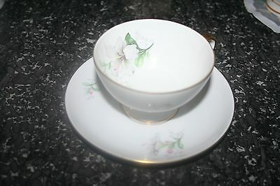 Beautiful Antique Bavarian German Hibiscus Flower Porcelain Footed Cup & saucer