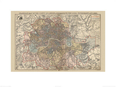 Stanfords Map Of The County Of London 1888 Kunstdruck 60 X 80 cm Offiziell