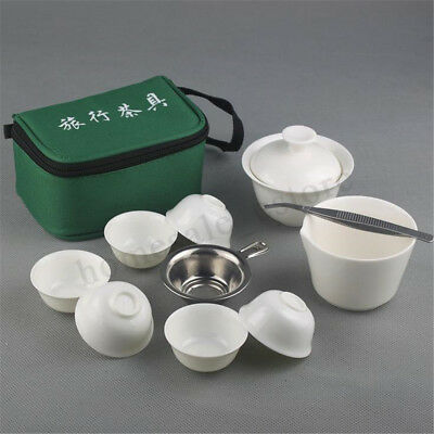 Travel Tea Sets Chinese Portable Ceramic Bone China Gaiwan Teacup Kung Fu 11 Pcs