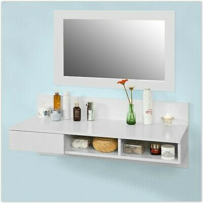 Wall Mounted Computer Desk Floating White Table Space Saving Storage Desk Shelf