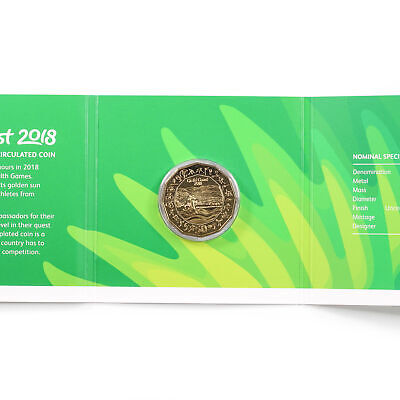 2018 Australian Gold Plated 50c Gold Coast XXI Commonwealth Games Carded Coin