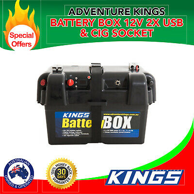 Kings Battery Box Portable 12V   2x USB & Cig Socket   Fits Most Deep-Cycle Batt