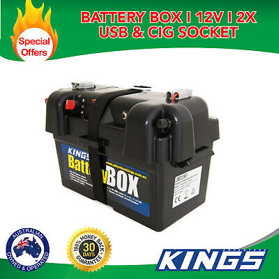 Kings  AGM Deep Cycle Battery Box USB Ports Camper Trailer Caravan Boat