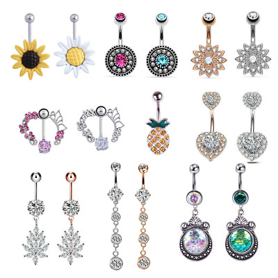Belly Button Bar Navel Piercing Ring Crystal Rhinestone Surgical Steel Jewellery