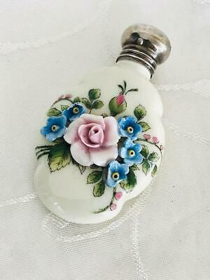 Antique Porcelain Perfume Scent Bottle Silver Lid Birmingham 1921