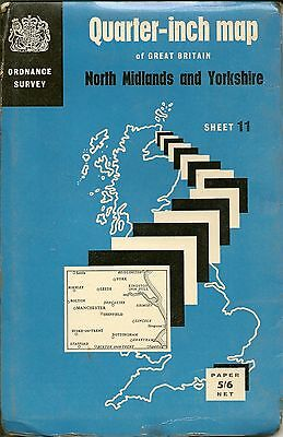 Ordnance Survey Quarter Inch Map 11 - N,MIDLANDS & YORKSHIRE -1964