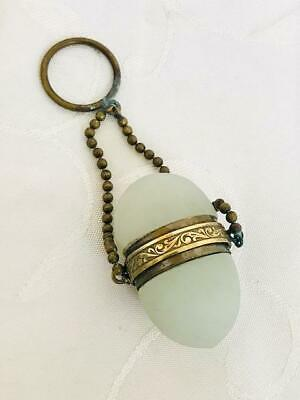 Antique French White Opaline Egg Form Chatelaine Perfume Scent Bottle C1880