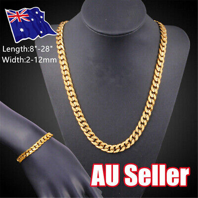 2-12mm 18K Yellow Gold Filled Heavy Curb Link Chain Mens Womens Classic Necklace