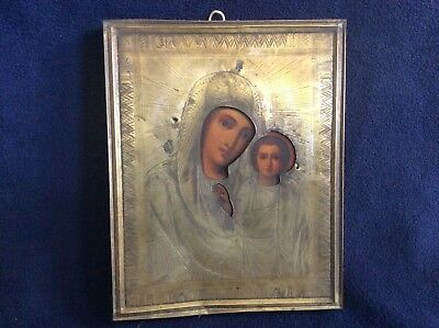 Antique 19C Hand Painted Russian Icon Of Kazanskaya Mother Of God In Brass