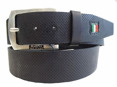 Cintura Belt 100% Pelle Made in Italy MARINA MILITARE Man Uomo Nero Black MYB058