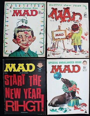 UK Mad Magazine 47 48 49 & 60 lot of 4 fn+1964/66 Silver Age B&W SEASONAL COVERS