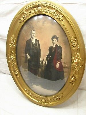 Early Ornate Gesso Wood Gold Gilt Dome Bubble Glass Picture Frame Convex Photo