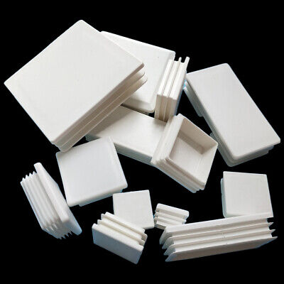 White Plastic Rectangle Blanking End Caps Cap Tube Pipe Inserts Plug Bung Steel
