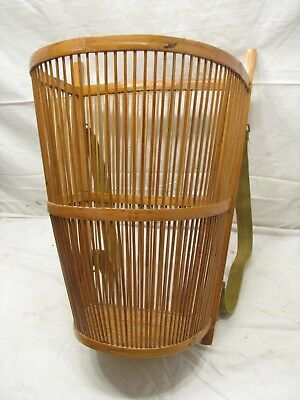 early Bakul Tambok Asian Tribal Wicker Basket Backpack Vegetable Farm Collection