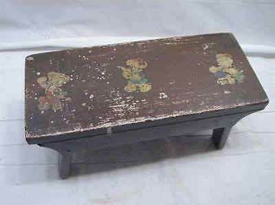 Primitive Mortised Leg Decal Decorated Wooden Foot Stool Bench Rest Farm Wood