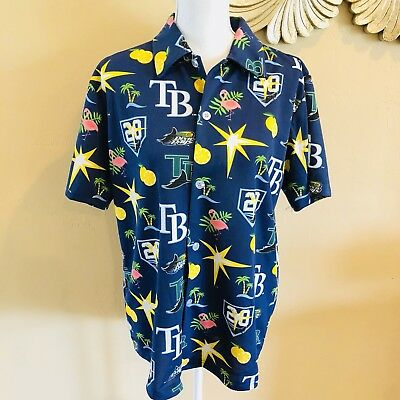 New 2018 Tampa Bay Rays Tropical Hawaiian Shirt Medium 20 Years Giveaway Promo