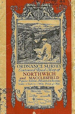 Ordnance Survey Map 44 NORTHWICH  - Cloth in sections 1925