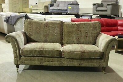 Parker Knoll Burghley Large 2 Seater Sofa in Baslow Stripe Gold Fabric