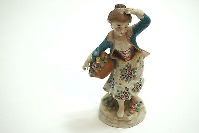 "Vintage Sitzendorf Porcelain Figurine Lady With Basket Of Flowers 7"" With Chips"