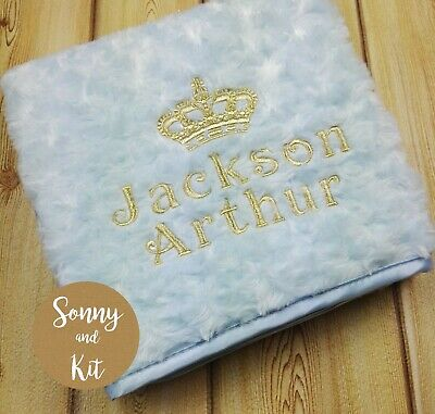 Personalised Baby Boy Prince Blanket, Embroidered New Born Blue Gift, Gold Crown