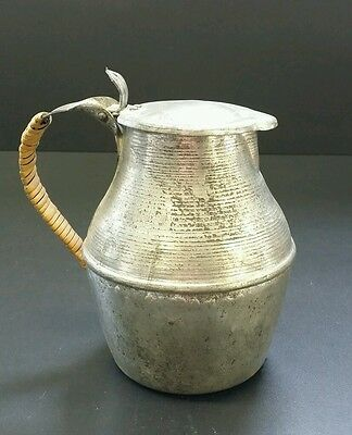 Antique Metal & Ironwork Pewter Silver Color Europe Guernsey Jug Small Pot Lid