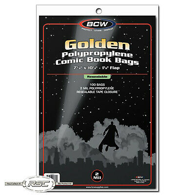 100 - BCW Golden Age Resealable 2-Mil Polypropylene Comic Book Bags