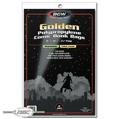 100 - BCW Golden Age Thick Resealable 2-Mil Polypropylene Comic Bags