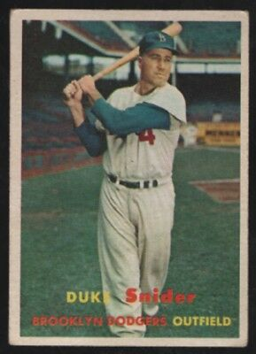 1957 57 Topps Baseball #170 Duke Snider Brooklyn Dodgers Card ~ VG-EX Condition